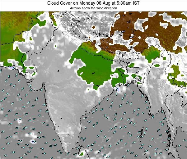 Bangladesh Cloud Cover on Thursday 13 Mar at 5:30am IST