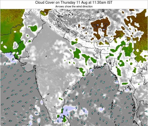 Bangladesh Cloud Cover on Wednesday 06 Aug at 5:30am IST