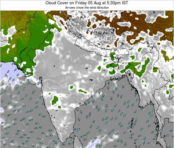 India Cloud Cover on Tuesday 22 Apr at 5:30pm IST