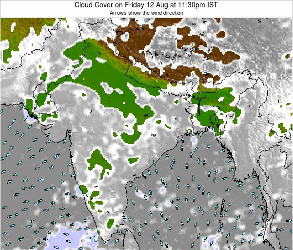 India Cloud Cover on Wednesday 30 Apr at 5:30am IST