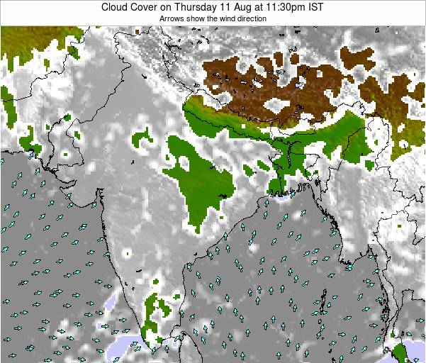 India Cloud Cover on Friday 31 May at 5:30pm IST