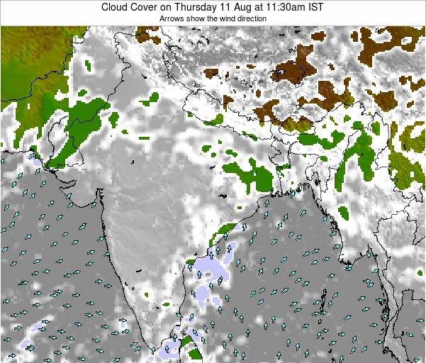 India Cloud Cover on Monday 04 Aug at 5:30am IST