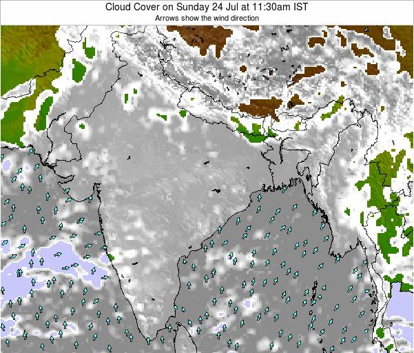 India Cloud Cover on Wednesday 09 Sep at 5:30am IST