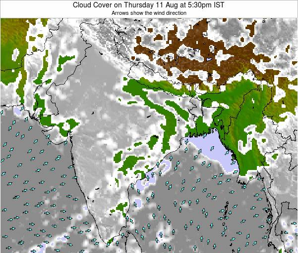 India Cloud Cover on Wednesday 24 Dec at 11:30pm IST