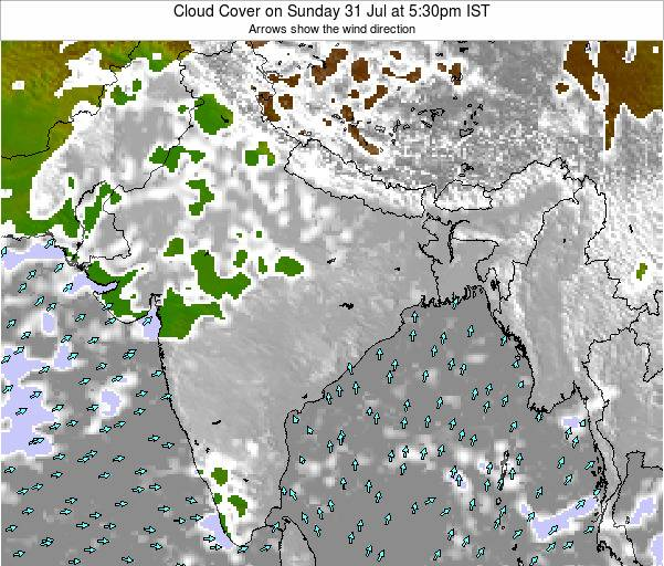 India Cloud Cover on Wednesday 30 Apr at 11:30pm IST