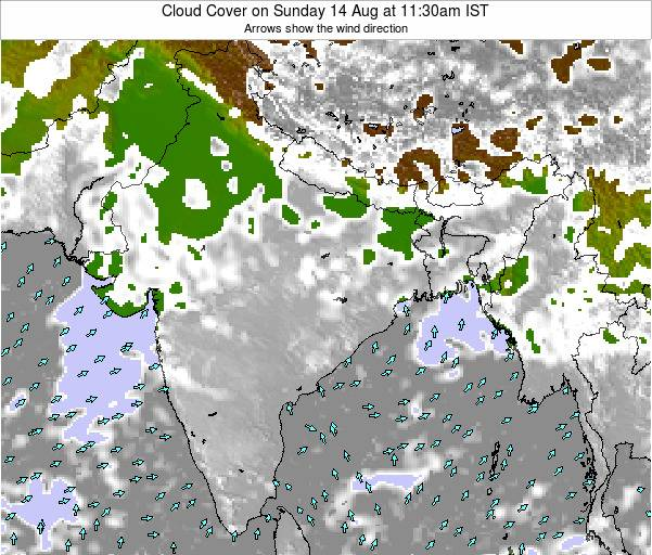 Bangladesh Cloud Cover on Thursday 30 Mar at 11:30am IST
