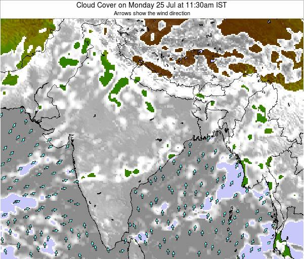 Bangladesh Cloud Cover on Monday 04 Aug at 11:30pm IST
