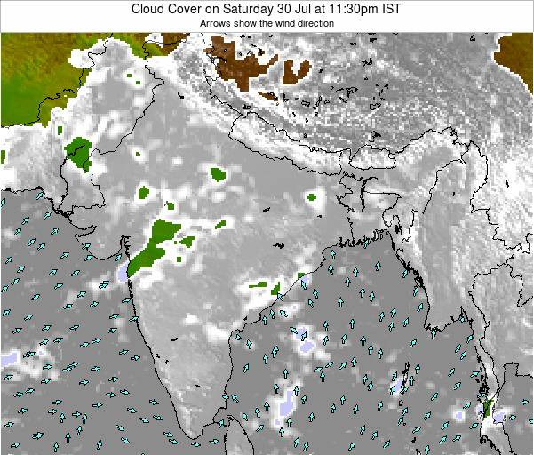 Bangladesh Cloud Cover on Monday 29 Jan at 11:30pm IST map