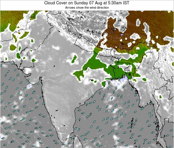 Bangladesh Cloud Cover on Sunday 11 Dec at 11:30am IST
