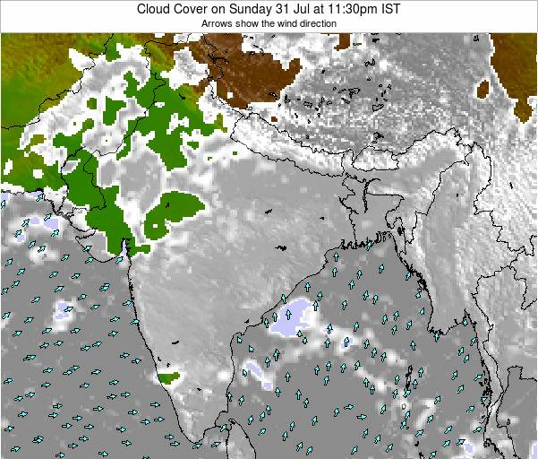 Bangladesh Cloud Cover on Monday 27 May at 11:30pm IST