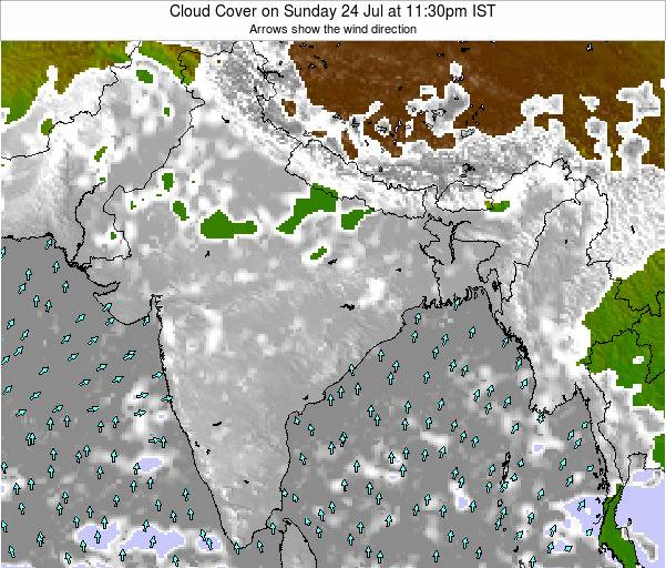India Cloud Cover on Saturday 19 Apr at 5:30pm IST