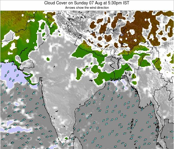 India Cloud Cover on Thursday 24 Apr at 5:30pm IST