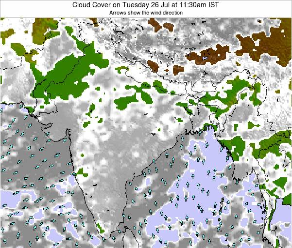 India Cloud Cover on Thursday 21 Aug at 11:30pm IST