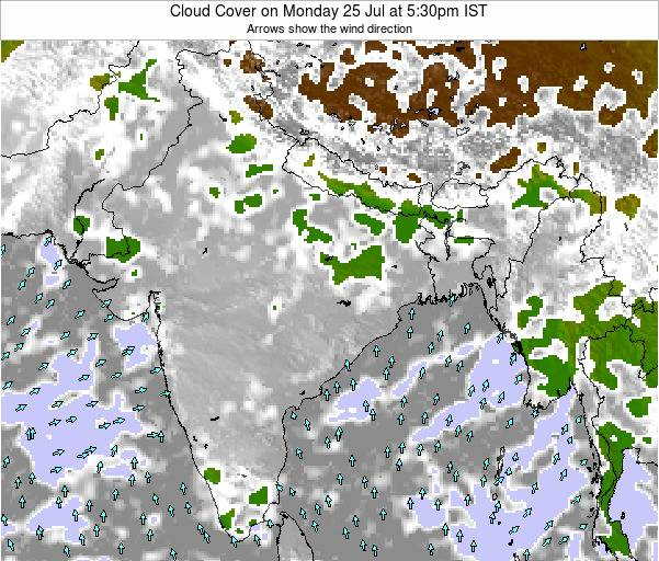 India Cloud Cover on Thursday 28 Jul at 11:30pm IST