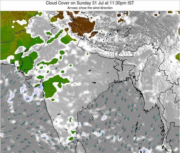 India Cloud Cover on Sunday 26 Jun at 5:30pm IST