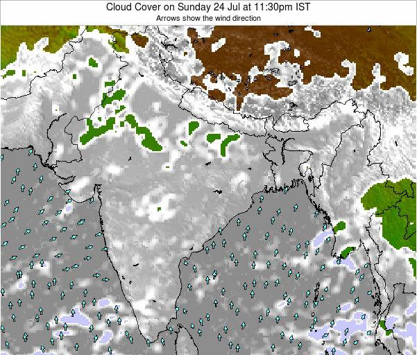 India Cloud Cover on Saturday 26 Apr at 5:30am IST