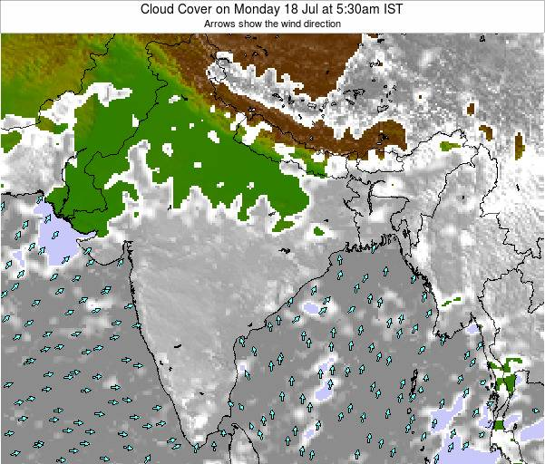 India Cloud Cover on Sunday 08 Dec at 5:30pm IST