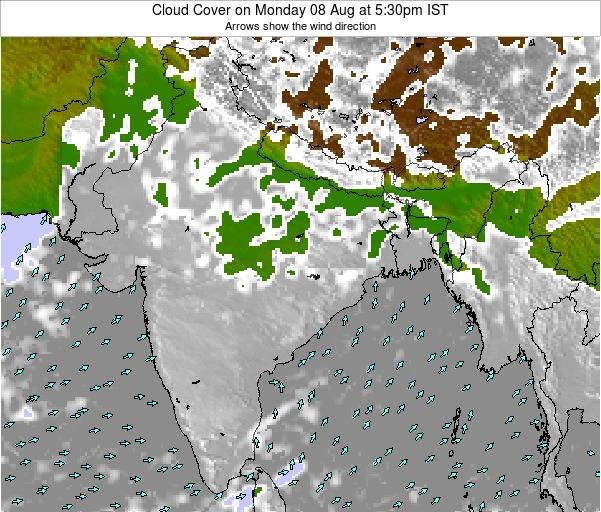 India Cloud Cover on Sunday 30 Oct at 5:30pm IST