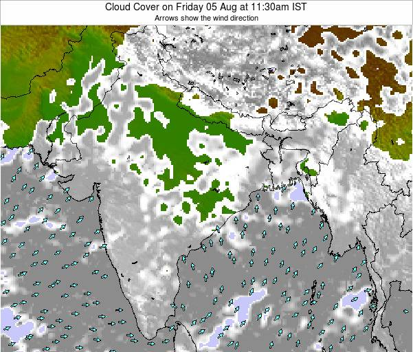 Nepal Cloud Cover on Thursday 20 Sep at 5:30pm IST map