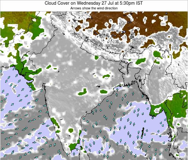 India Cloud Cover on Sunday 11 Dec at 5:30pm IST