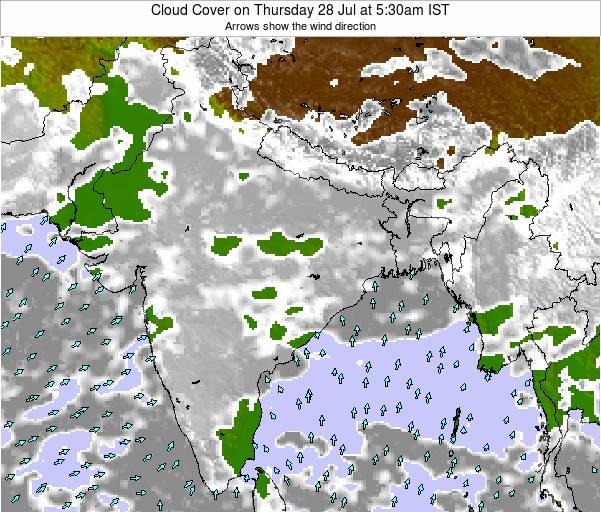 India Cloud Cover on Sunday 31 Aug at 5:30pm IST