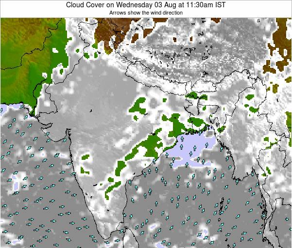 India Cloud Cover on Thursday 25 Dec at 5:30am IST