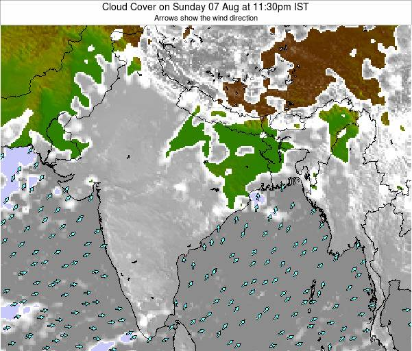 India Cloud Cover on Friday 01 Aug at 5:30pm IST