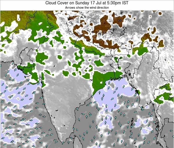India Cloud Cover on Thursday 23 Feb at 5:30pm IST