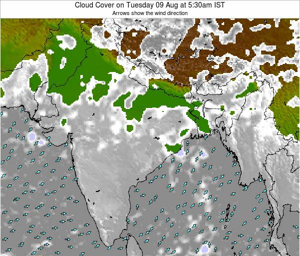 India Cloud Cover on Monday 01 Jun at 11:30am IST