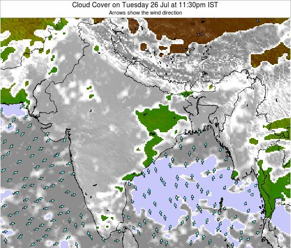 India Cloud Cover on Sunday 27 Apr at 5:30am IST