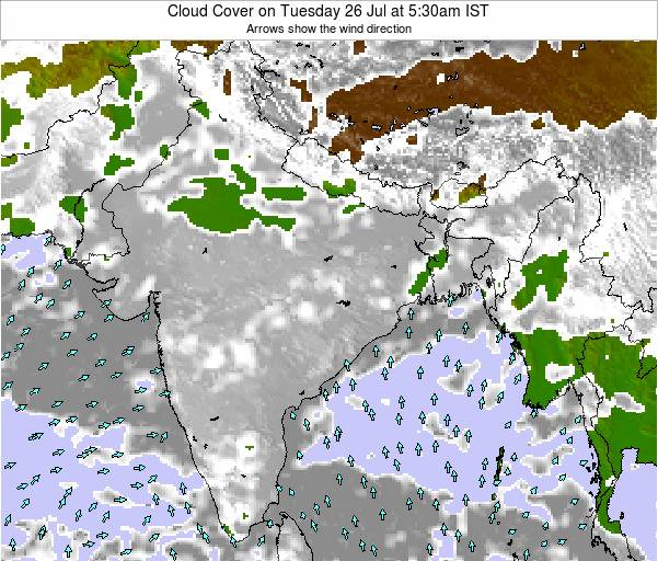 India Cloud Cover on Sunday 27 Jul at 11:30pm IST