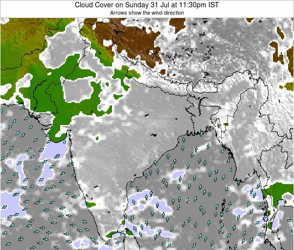India Cloud Cover on Thursday 31 Jul at 5:30am IST