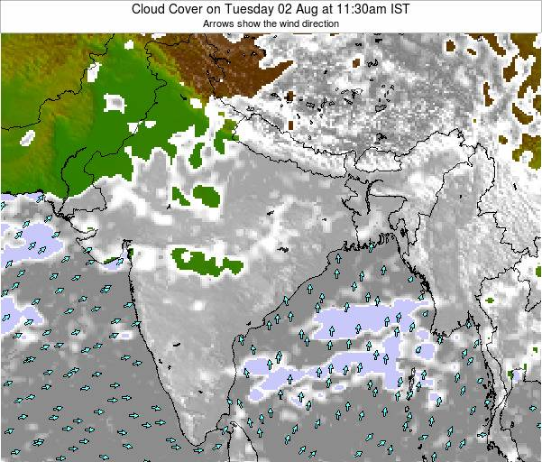 India Cloud Cover on Wednesday 23 Apr at 11:30pm IST