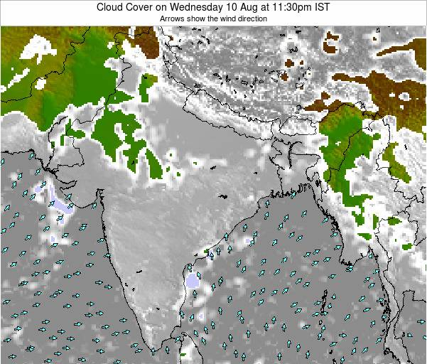Bangladesh Cloud Cover on Saturday 22 Jun at 11:30pm IST