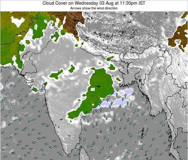 Bangladesh Cloud Cover on Monday 10 Mar at 5:30pm IST