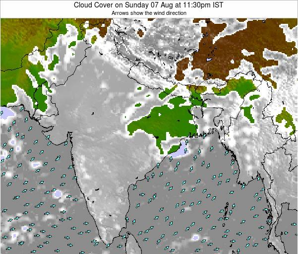 Bangladesh Cloud Cover on Friday 22 Jun at 5:30pm IST map