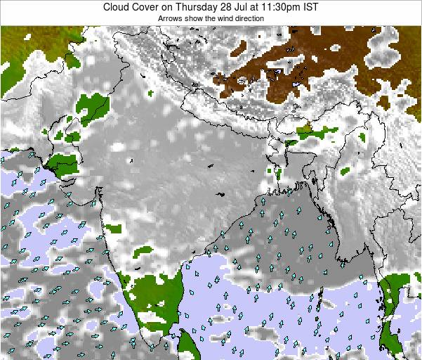 Bangladesh Cloud Cover on Friday 27 Jan at 5:30pm IST