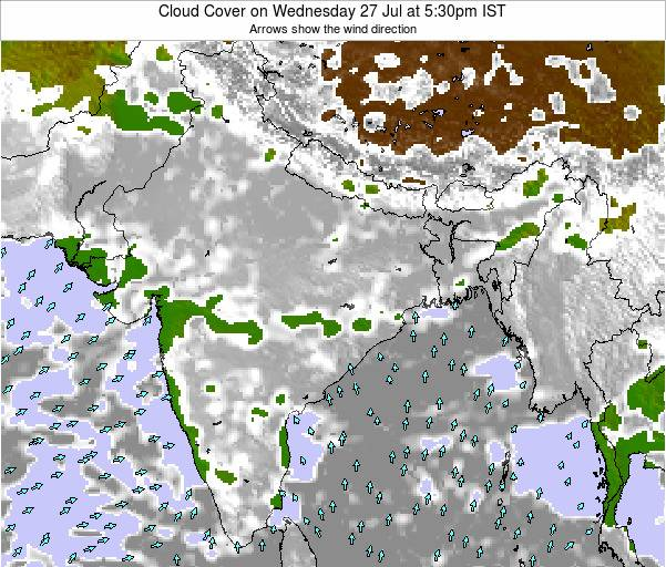 Bangladesh Cloud Cover on Tuesday 17 Dec at 5:30am IST