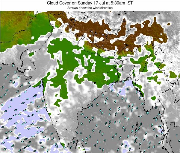Bangladesh Cloud Cover on Thursday 14 Dec at 11:30am IST map