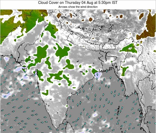 Bangladesh Cloud Cover on Monday 02 Feb at 5:30pm IST