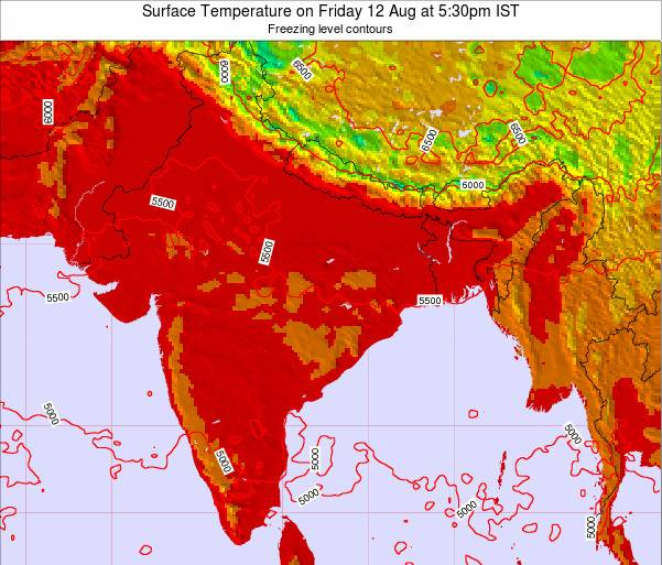 Bangladesh Surface Temperature on Tuesday 28 May at 11:30pm IST map