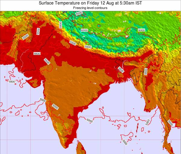 Bangladesh Surface Temperature on Tuesday 28 May at 5:30am IST map