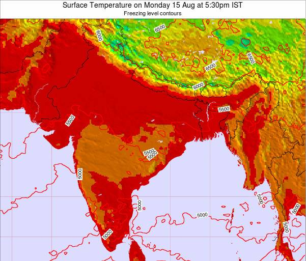 Bangladesh Surface Temperature on Monday 24 Jun at 11:30am IST map