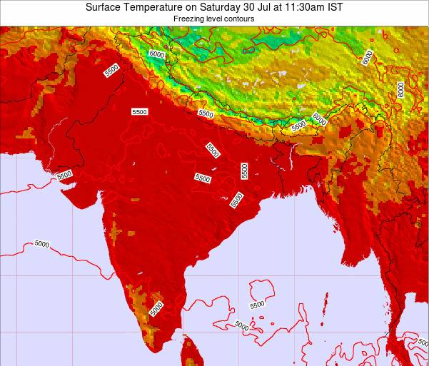 Bangladesh Surface Temperature on Sunday 26 May at 5:30pm IST map