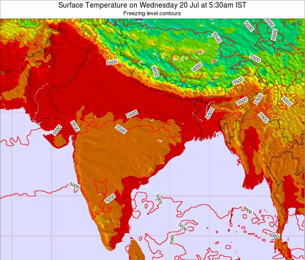 Bangladesh Surface Temperature on Wednesday 22 May at 11:30am IST map