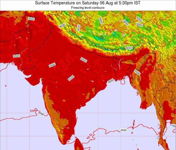 Bangladesh Surface Temperature on Saturday 25 May at 5:30pm IST map