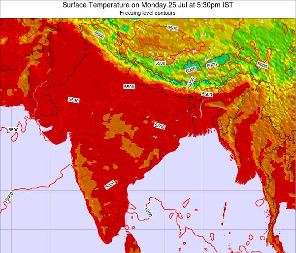 Bangladesh Surface Temperature on Thursday 23 May at 11:30pm IST map
