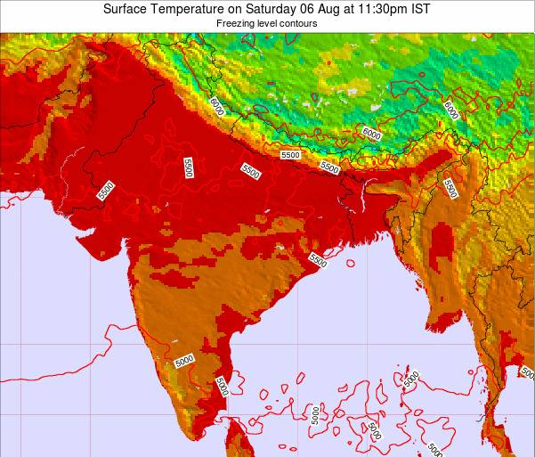 Myanmar Surface Temperature on Monday 22 Jul at 5:30am IST map