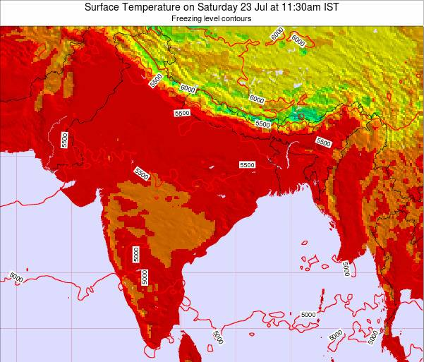 Myanmar Surface Temperature on Monday 22 Oct at 5:30am IST map