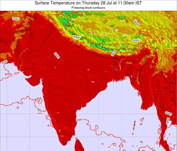 Bangladesh Surface Temperature on Wednesday 22 May at 11:30pm IST